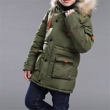 Load image into Gallery viewer, 2020 New Kids Coat Boys Winter Padded Jacket Coat with Faux Fur Hood Jackets Parka Outwear