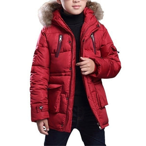 2020 New Kids Coat Boys Winter Padded Jacket Coat with Faux Fur Hood Jackets Parka Outwear