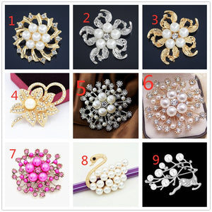 Fashion Women Brooches Lady Imitation Pearls Rhinestones Crystal Wedding Brooch Pin Jewelry Accessories