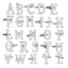 Load image into Gallery viewer, 1Pair Fashion Business Men Cufflink Initial Letter Silver Alphabet Wedding Formal Shirt Cuff Link