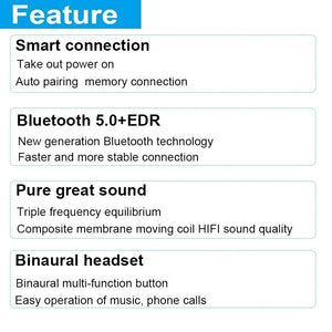 [ Bluetooth5.0, Auto Pairing ] Wireless Bluetooth Headset Waterproof Sport In Ear Headphones Mini TWS Earbuds 6D Stereo Wirelss Earphones with Charging Case PK IPhone Airpods Flypods Freebuds
