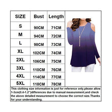 Load image into Gallery viewer, NEW Autumn and Winter Women Long Sleeve Top Off the Shoulder Shirt Printed Rainbow Gradient Plus Size T-Shirt Top