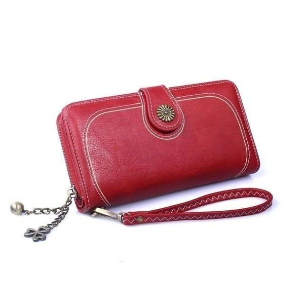 Oil Wax Leather Clutch Bag Women's Long Mobile Phone Bag Oily Bills Folder