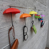 3Pcs Colorful Umbrella Wall Hook Key Hair Pin Holder Organizer Decorative cv3