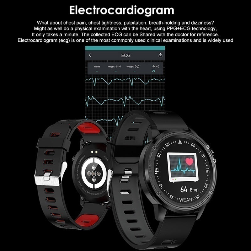 New Smart Watch L8 IP68 Water Resistant Smart Watch ECG PPG Heart Blood Pressure Multi-Sports Mode Man Smart Bracelet Reloj Inteligente Intelligente Uhr for IOS Android