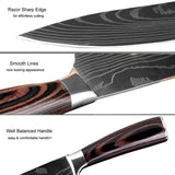 High Quality 7 PCS Set  Chef Knife Set Professional 7Cr17mov Stainless Steel Kitchen Knife Set Chef Cooking Knives SetUtility Chef Knives Bread Knife Laser Damascus Steel Santoku Kitchen Knives Sharp Cleaver Slicing Gift Knife