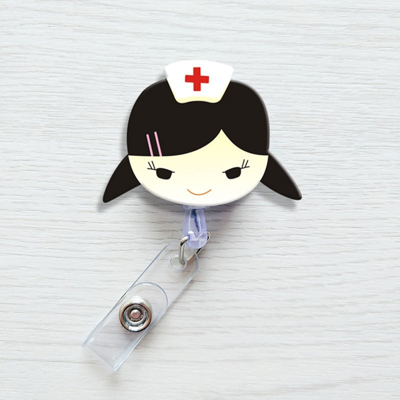 Cute Doctor Nurse Pattern Retractable ID / Name Badge Holder with Belt Clip