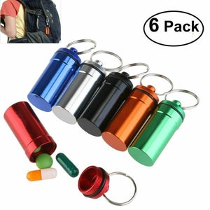 6PCS Waterproof Aluminum Pill Box Case Bottle Drug Holder Keychain Container
