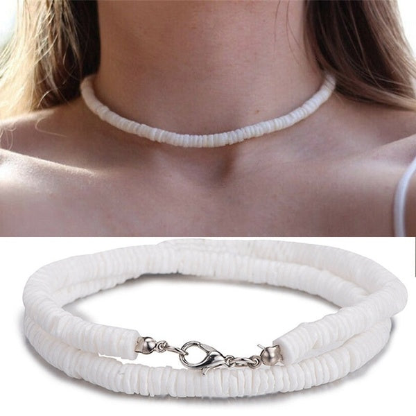 Hawaii Puka White Clam Chips Shell Necklace Natural Chips Seashell Choker Necklace For Women Charm Beach Statement Jewelry Gift