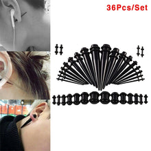 Load image into Gallery viewer, 36Pcs Acrylic Ear Tapers Kit Screw Fit Plugs 14G-00G Ear Stretching Gauge Body Piercing Jewelry