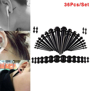 36Pcs Acrylic Ear Tapers Kit Screw Fit Plugs 14G-00G Ear Stretching Gauge Body Piercing Jewelry
