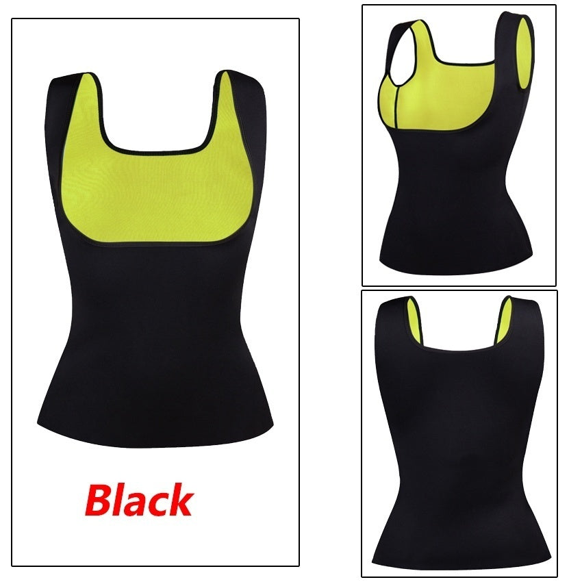 4 Colors Women's Hot Sweat Slimming Neoprene Shirt Vest Body Shapers Workout Waist Trainers Fitness Sweat Shirt Abdominal for Weight Loss No Zipper Black