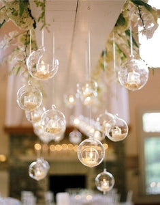 5/10pcs Romantic Transparent Glass Candle Holder Candle Cover Hanging Glass Ball Tea Light Holder Home Wedding Party Decor(No candle)