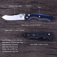 Load image into Gallery viewer, G10 Handle 810 Osborn Contego Cpm-M4 Steel Axis Lock Folding Knife Carbide Glass Breaker Axis Lock Tanto Blade