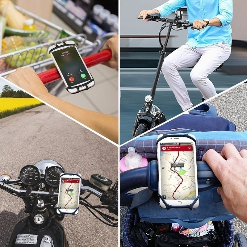 Universal Bike Bicycle Motorcycle Mobile Phone Silicone Holder Buckle Pull Nonslip Cellphone GPS Handlebar Bracket Stand