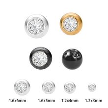 Load image into Gallery viewer, 10Pcs/Lot 3-5mm Cubic Zirconia Replacement Piercing Ball Externally Threaded Gold Color Ball 16G/14 Gauge Piercing Ball Jewelry