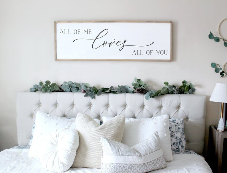 All of Me Loves All of You Bedroom Sign Farmhouse Wall Decor Wall Pictures for Home Decoration Bible Verse Paintings Cuadros Decorativos Without Frames