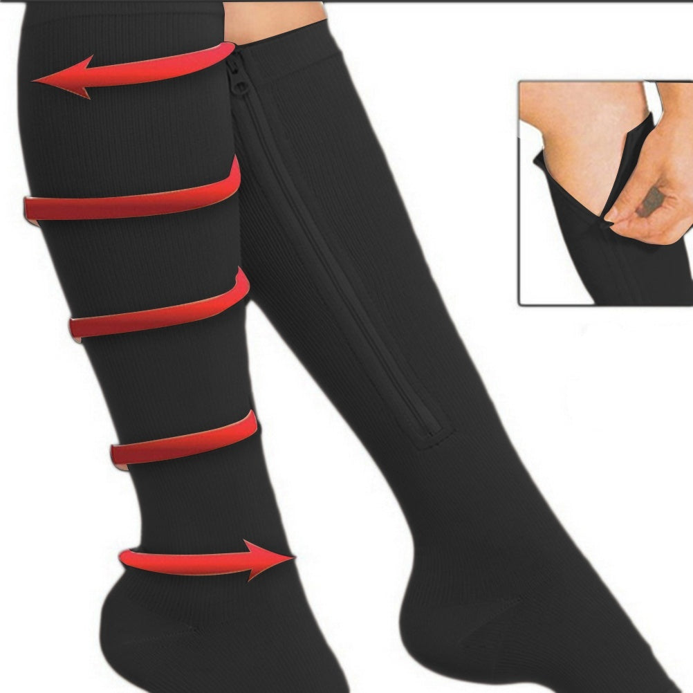 1 PAIRS Unisex Zipper Compression Stockings Pressure Nylon Vein Stocking Knee High Leg Support Stretch Pressure Circulation Stockings