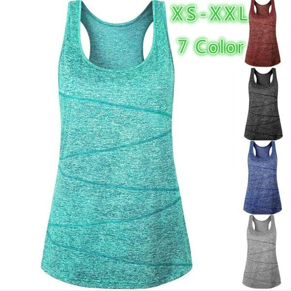 Women's Sport Casual Solid Color Yoga Vest Quick Drying Fabric Sleeveless  Fitness Vest   Running Vest  T -Shirts  Tank Tops