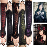 5 Colors Women Fashion Cosplay Gothic Taffeta Gloves with Black Ribbon Lacing Medieval Vintage Fabric Splicing Cross Strap Lace Up Oversleeves