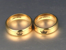 Load image into Gallery viewer, HOT SALE Fashion Accessories Valentine Gifts ''His Queen''''Her King '' Stainless Steel Couple Ring His and Hers Matching Rings Unique Gift for Lovers Wedding Jewelry Stainless Steel His Queen and Her King Couple Rings for Lovers'
