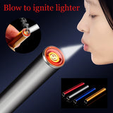 Smoking Frameless Lighter Cool Blow To Ignite Lighter Electric USB Lighter Cigarette Lighter Convenient Survival Lighters