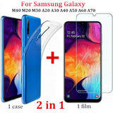2 in 1 Tempered Glass Screen Protector + Case Slim Crystal Transparent Silicone TPU Cover Case For Samsung Galaxy M10 M20 M30 A20 A30 A40 A50 A60 A70