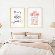 Load image into Gallery viewer, Perfume Bottle Wall Art Perfume Posters and Prints Beauty Begins Quote Print Watercolor Flower Pictures Bedroom Decoration