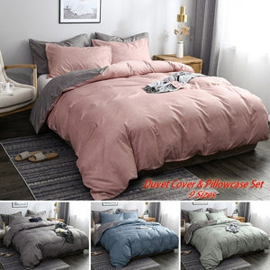 High Quality Minimalism Bed Duvet Cover & Pillowcase Set Solid Soft Home Daily Comforter Cover Set Single Twin Double Full AU Queen EU King Queen King Sizes 4 Colors