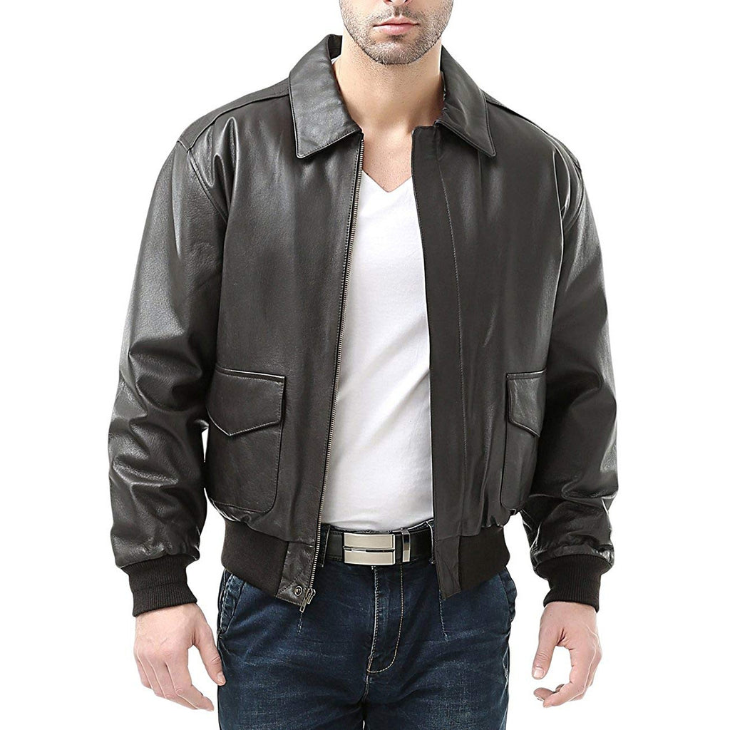 A-2 Mens Leather Bomber Jacket With American Flag Print Inside Plus Size Flight Jacket Men Casual Leather Jacekt