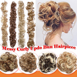 Real Thick 80G Wrap Around Curly Messy Bun Chignon / Long Ponytail Hair Extensions