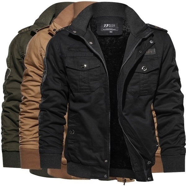 2020 Hot Saling Jamickiki New Design Autumn and Winter Fashion Mens Army Military Patch Padded Zipper Jacket Outdoor Warm Fashion Mens Casual Tactical Gear Winter Woolen Coat. Plus Size XS-6XL