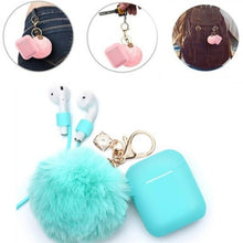 Load image into Gallery viewer, Airpods Case - Drop Proof Air Pods Protective Case Cover Silicone Skin Cute Fur Ball Airpods Keychain/Strap Apple Airpods Accessories