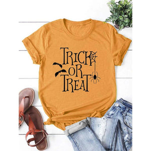 Women's Fashion Tops Casual Short Sleeve Round Neck Halloween Shirts T-shirts