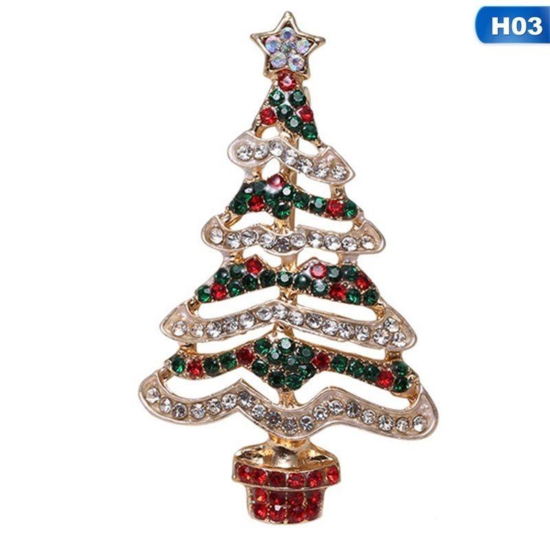6 Styles Christmas Tree Crystal Brooches Enamel Pins For Clothes Backpack Decoration Jewelry Gift