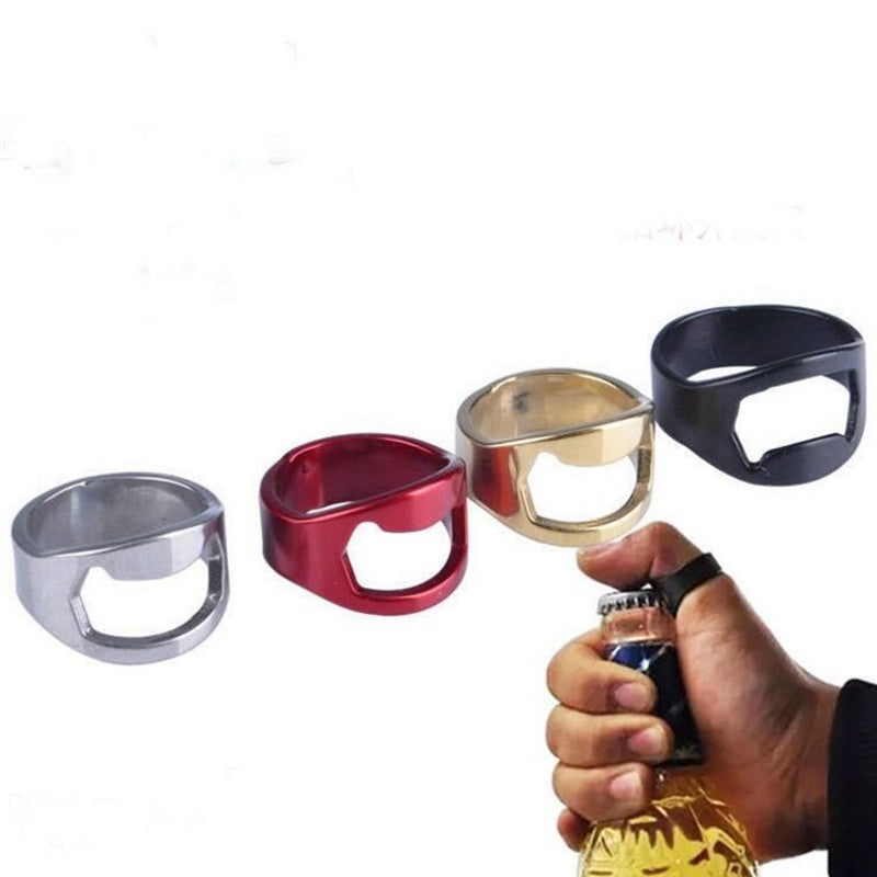 4PCS Stainless Steel Creative Versatile Finger Ring Bottle Opener Bar Beer Tools Kitchen Accessories (Color:Random Color)