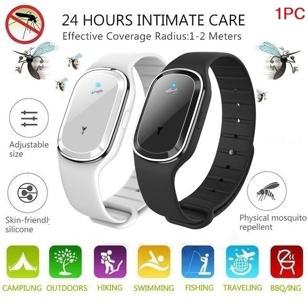Smart USB Rechargeable Mosquito Repellent Bracelets Non-Toxic Travel Ultrasonic Mosquito Repellent Wristband For Indoor&Outdoor, Kids&Adults
