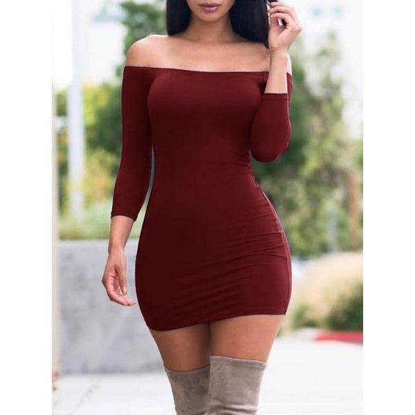 Women's Long Sleeve Off The Shoulder Dress Solid Color Slim Fit Solid Color Short Dresses Plus Size