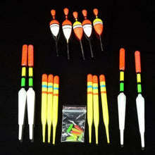 Load image into Gallery viewer, 15Pcs Fishing Lure Floats Bobbers Slip Drift Tube Indicator Assorted Sizes