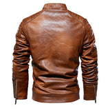 NEW Men Vintage Cool Motorcycle Jacket Thick Velvet PU Leather Jacket Autumn Winter Coat Stand Collar Club Bomber Jacket