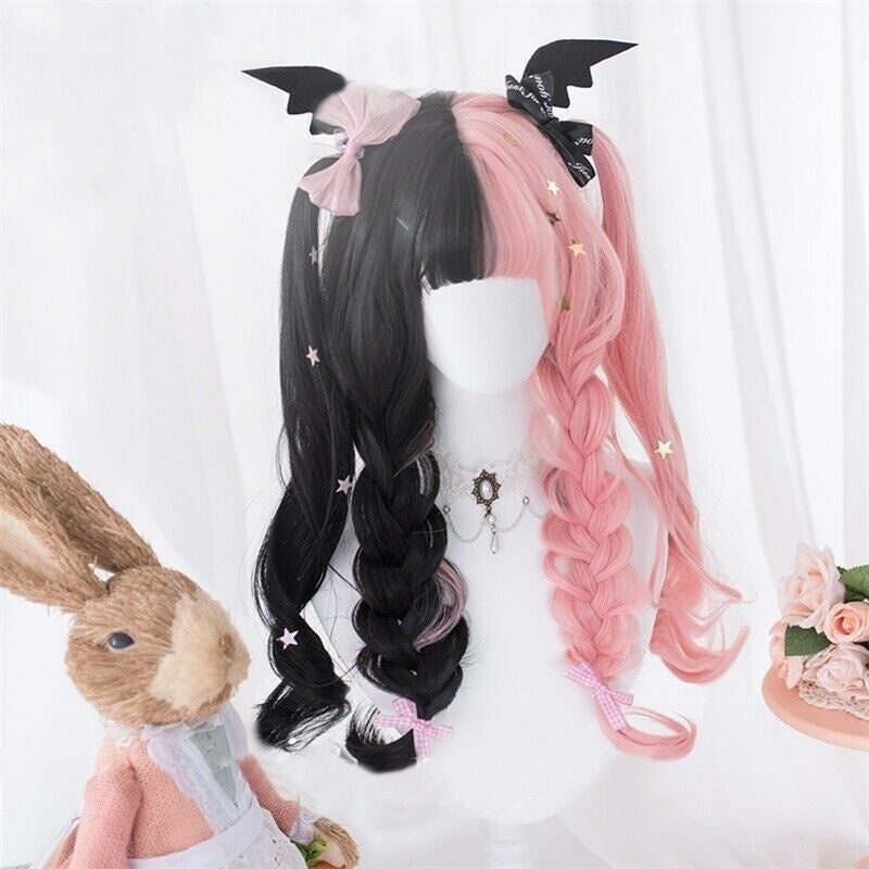 Japan Cute Long Wavy Black Mixed Pink Ombre Cosplay Lolita Wig only wig