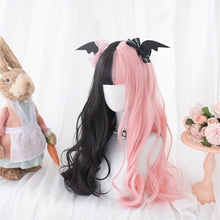 Load image into Gallery viewer, Japan Cute Long Wavy Black Mixed Pink Ombre Cosplay Lolita Wig only wig