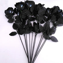 Load image into Gallery viewer, 10pcs Artificial Black Rose Gothic Flowers Halloween Decoration Bride Prop Plant