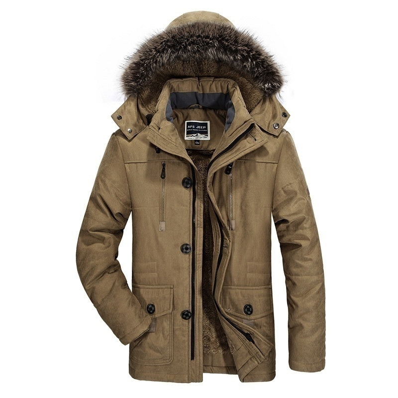 6XL Men Coat Men Winter Warm Casual Coat Fashion Thick Fleece Outdoor Outerwear