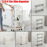 White/ Grey Household Movable Assembly Bathroom Storage Slim Slide tower Organization Floor Type Storage Shelves 2/3/4 Tier Plastic Shelf Wheels Space Saving Organizer