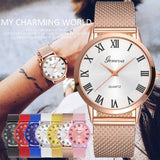 Roman Numerals Ladies Watch Net Wristwatch Digital Ultra-thin Mesh Casual Quartz Men Watches