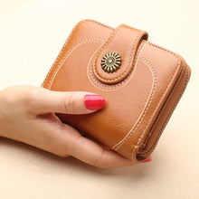 Load image into Gallery viewer, Bronze Pendant Women Fashion Mini Purse Female Short Leather Wallet Multifunction Purse Small Money Bag Coin Pocket Wallet
