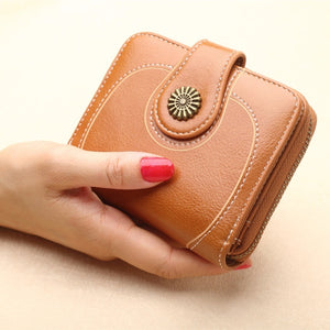 Bronze Pendant Women Fashion Mini Purse Female Short Leather Wallet Multifunction Purse Small Money Bag Coin Pocket Wallet