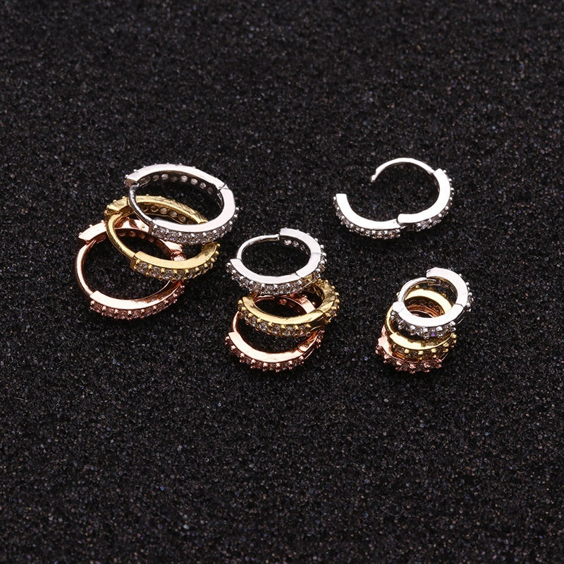 2PCS Punk 18K Plated Gold Zircon Small Hoop Earrings Personality Circle Earring Copper Accessories Gift