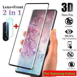 3D Curved Tempered Glass Screen Protector Film + Back Camera Lens Tempered Glass For Samsung Galaxy note 8 9 10 Plus Note S8 Plus S9 Plus S10 Plus S10E